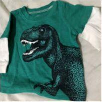 Camiseta manga longa dinossauro - 3 meses - carters - 3 meses - Carter`s