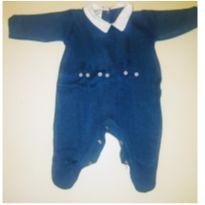 Macacão Azul Marinho com golas brancas Com Trenzinho Menino - Recém Nascido - Buá