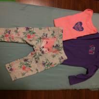 conjunto com 3 peças, body manga curta, body manga longa e calça - 6 meses - Carter`s