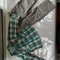 conjunto de camisa xadrez e calça jeans - 3 meses - Tip Top