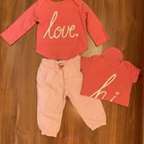 conjunto com 3 peças, body manga longa, manga curta e calça - 9 meses - Carter`s