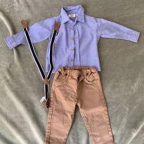 conjunto de calça, camisa e suspensório - 1 ano - Sem marca