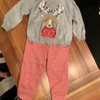 conjunto de natal, blusa e calça tamanho 12 - 1 ano - Carter`s