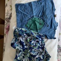 conjunto camiseta e bermuda 6/9 meses green - 6 a 9 meses - Green