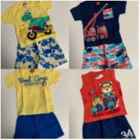 kit 4 conjuntos (bermuda e camiseta) + 1 bermuda + 7 camisetas - 3 a 6 meses - Kyly