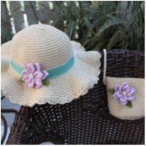 kit chapéu e bolsa de palha com aplique que flor. -  - Sem marca