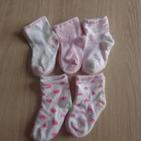 Meias rosa - 3 a 6 meses - Não informada