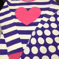 Pijama - Manga longa branco/roxo/rosa com calça bolinhas - Children`s Place - 10 anos - children