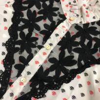 Camisa - Estampada botões e detalhes em renda - Lilica Ripilica