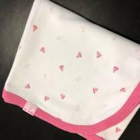 Manta - Malha algodão estampa barquinhos e acabamento em rosa - UpBaby