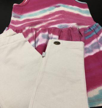 Conjunto - Calça capri cotton lisa + Regata estilo bata estampada - PUC - 8 anos - PUC