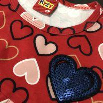Conjunto - Camiseta estilo bata corações + calça legging lisa - Kyly - 8 anos - Kyly