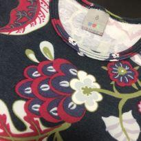 Conjunto Manga Longa - estampado floral + Calça legging lisa - PUC - 8 anos - PUC