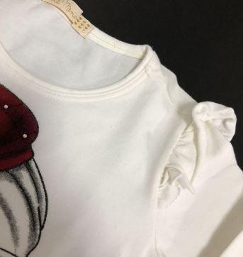 Conjunto - Camiseta manga longa com babados + calça veludo - Arte Menor - 8 anos - Arte Menor
