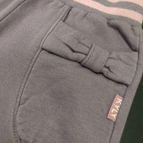 Calça moletom - Lisa roxo claro com bolso laço e elástico listrado - Kyly - 4 anos - Kyly