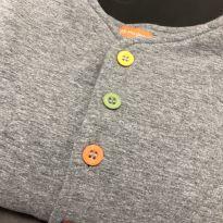 Casaco - Algodão com enchimento cinza e abertura botões frontal - BB Moderno - 4 anos - BB Moderno