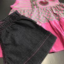 Conjunto - Regata algodão + shorts jeans preto - Carinhoso - 2 anos - Carinhoso