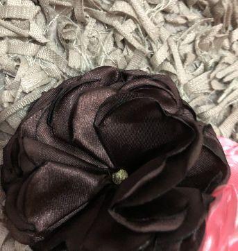 Faixa de Cabelo - Faixa elástico rendada com aplique flores cetim - Sem faixa etaria - Little Me