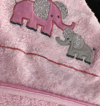 Toalha Banho - Bebe - Atoalhada com bordado Elefante - Frenchie - Sem faixa etaria - Frenchie