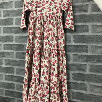Vestido - Manga 3/4 - Longo - Estampado floral - PUC - 8 anos - PUC