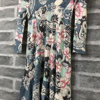 Vestido - M/L malha estampado floral com detalhes babados - PUC - 6 anos - PUC