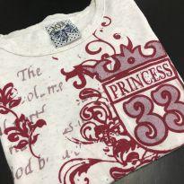 Camiseta M/L - Estampada com pontas;babados laterais - Malandrus Chik - 6 anos - malandrus