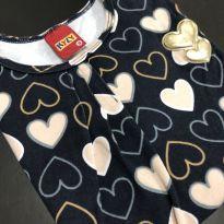 Camiseta M/L - Estilo bata em cotton corações - Kyly - 8 anos - Kyly