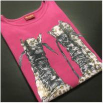 Camiseta M/L - Molecotton - Estampada botas - Amora (Tam 16) - Único - amora