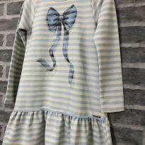 Vestido - M/L Moletom listrado com babdos e detalhe pedraria - Momi - 14 anos - Momi