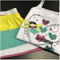 Pijama - Alças com decote quadrado + Shorts Listrado - Mensageiro dos Sonhos - 4 anos - Mensageiro dos Sonhos