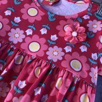 Vestido - Manga curta - Algodão florido vermelho - Kyly - 4 anos - Kyly