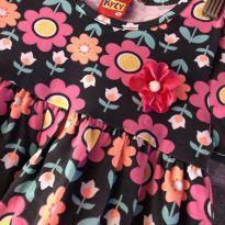 Vestido - Manga curta - Algodão florido cinza - Kyly - 3 anos - Kyly
