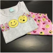 Pijama - M/C - Camiseta mescla MOON emoji + shorts estampado - Kyly (Tam. 16) - Único - Kyly