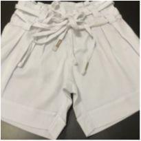 Bermuda - Sarja branca lisa com pregas e amarração dupla - Lilica Ripilica - 6 anos - Lilica Ripilica