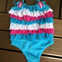 Linha Praia - Maio infantil - Liso com babados frontais/aplique borboleta - Pupi - 3 anos - Pupi