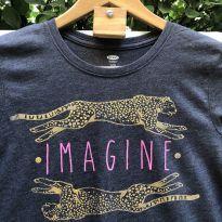 Camiseta M/C - Mescla super soft IMAGINE arredondado - Old Navy - 14 anos - Old Navy