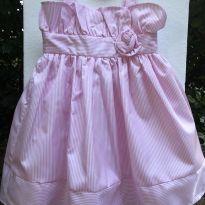 Linha festa - Vestido em tecido listrado com detalhe rosa - Cherokee (USA) - 2 anos - Cherokee