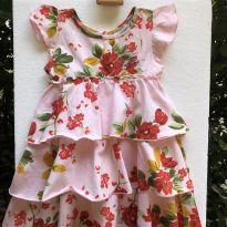 Vestido - Manga curta - Algodão estampado floral  com babados - Noruega - 2 anos - Noruega