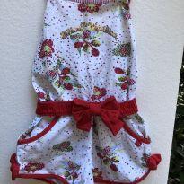 Macaquinho - Cotton floral com cinto e detalhe em tecido - Lilica Ripilica - 2 anos - Lilica Ripilica