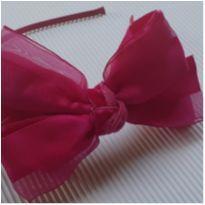Linha Festa - Tiara - Laço duplo veludo + cetim - Pink - Pampili -  - Pampili
