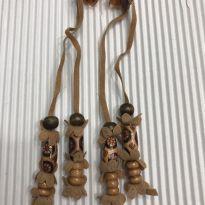 Terere - Par miçangas madeira e mini flores em camurça - Bege (2) -  - Desconhecida