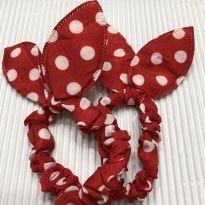 Par Elastico - Tecido Poa Vermelho com laço (1) -  - Desconhecida