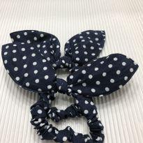 Par Elastico - Tecido Poa Azul Marinho com laço -  - Desconhecida