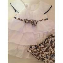Vestido Com tapa fralda Branco tam 1 - 1 ano - Pequeno Anjo