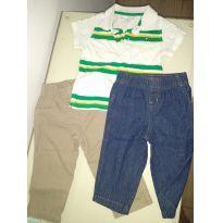 Conjunto de camisa e calça - 9 a 12 meses - Carter`s e Tommy Hilfiger