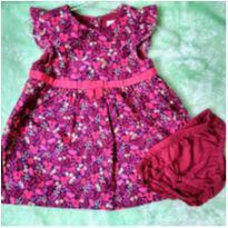 Vestido Florido com Brilho - 3 a 6 meses - Gymboree