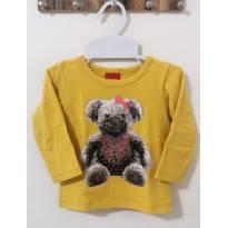 Camiseta amarela/mostarda manga longa Estampa ursinha com glitter - 6 a 9 meses - Kyly