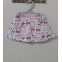 saia short branca e rosa com estampa gatinha fashion - 9 a 12 meses - Boulevard Baby