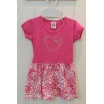 Vestido pink básico , com coração de strass - 18 a 24 meses - NINA BABY