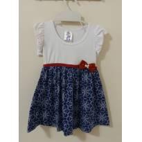 Vestido branco, com saia azul estampada e laço vermelho - 18 a 24 meses - polegar